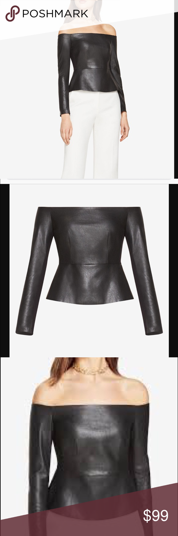 732aa748067b14 New with tags! BCBG faux leather peplum top XS Brand new! Chic ...