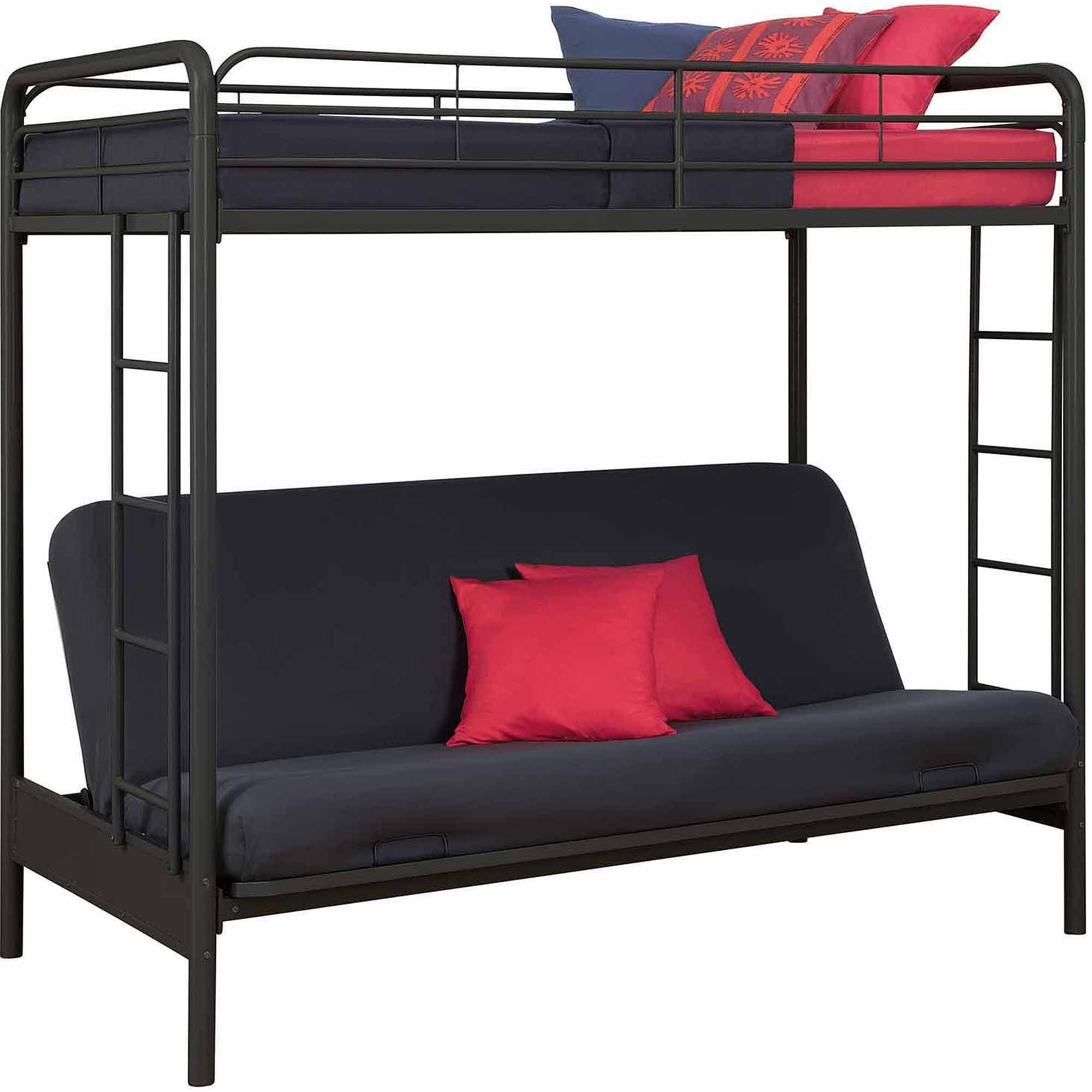 Futon Bed Twin Over Metal Bunk Kids Black Furniture Bedroom Loft Dorm