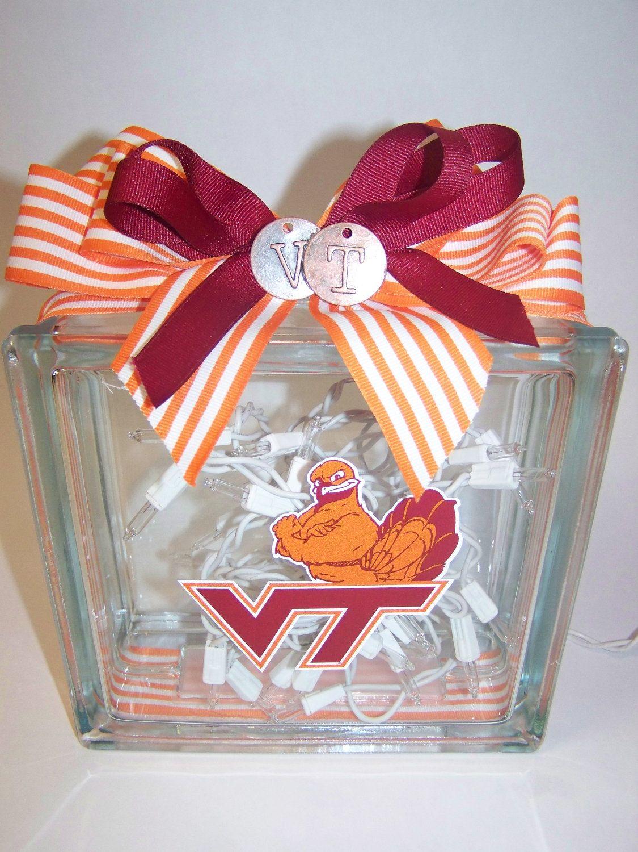 Virginia Tech Hokies Lighted Glass Block. 35.00, via Etsy