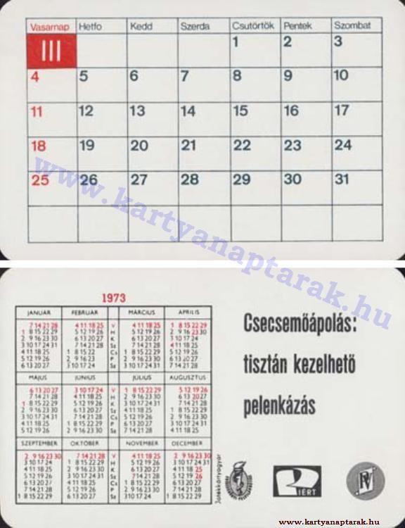 1973 - 1973_0650 - Régi magyar kártyanaptárak