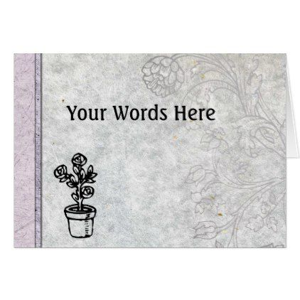Your Words on Hand Made Paper with Woodcuts Card - vintage gifts retro ideas cyo