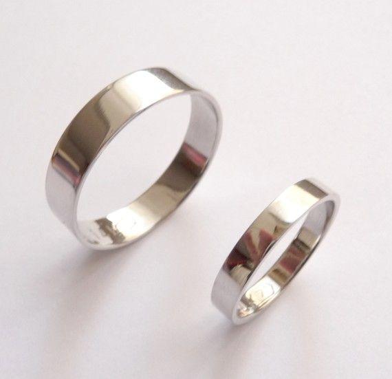 White gold wedding band set women wedding ring men wedding band flat