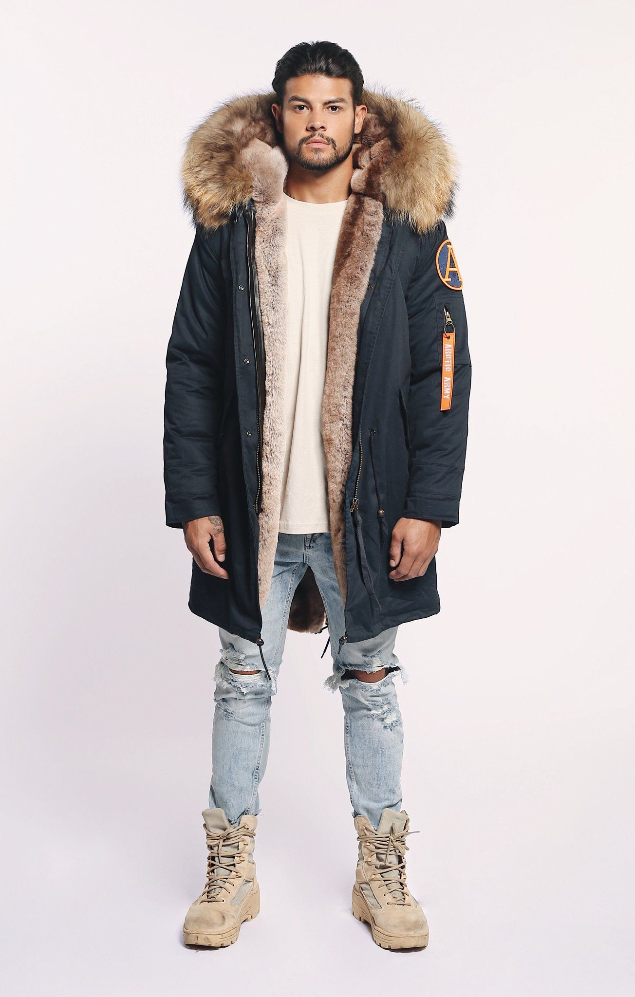 Navy Parka Coat Mens
