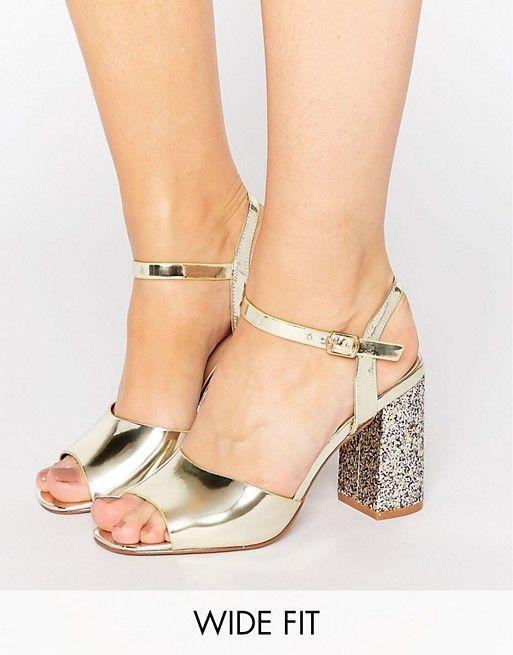 2f852cc849 New Look Wide Fit Metallic Glitter Block Heeled Sandal | foot care ...