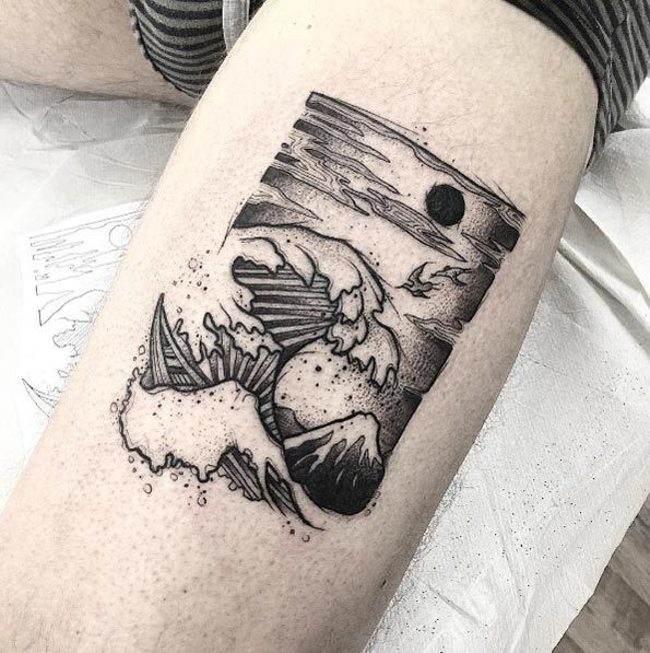 Great Wave tattoo by Andrea Bombayfoor