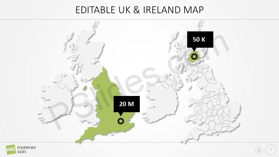 Map Of Uk For Powerpoint.Free Editable Uk Ireland Powerpoint Map Powerpoint Diagrams