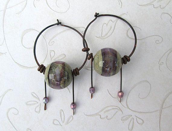 Copper Hoop Earrings by HarrysGirls, $32.00