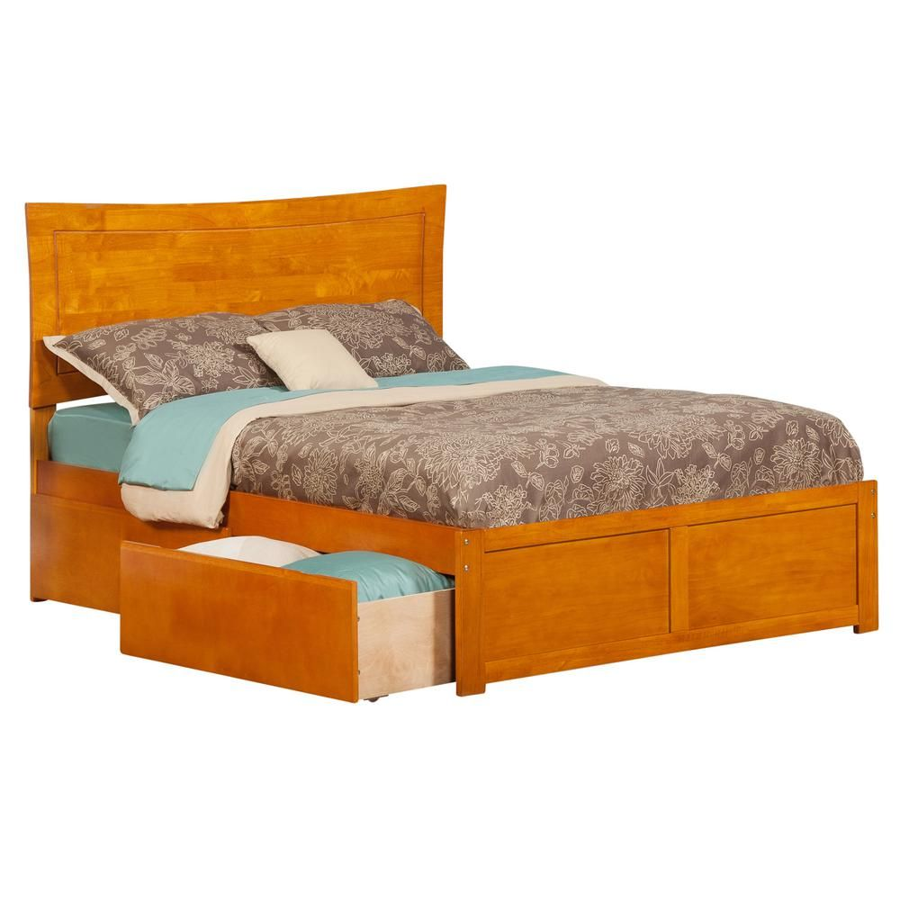 Loft bed with slide and storage  Atlantic Furniture Metro Caramel Full Platform Bed with Flat Panel