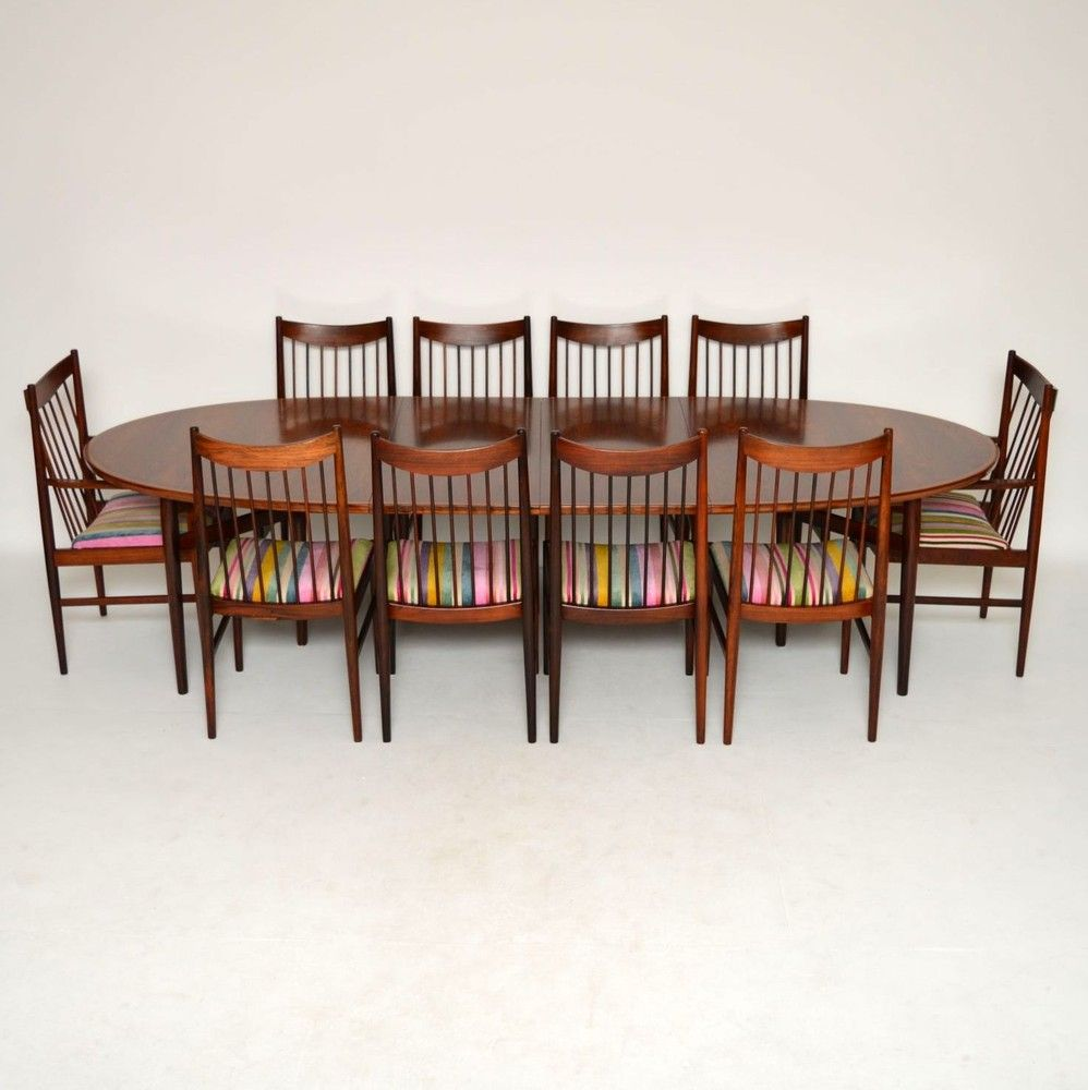 Danish Rosewood Dining Table 10 Chairs Arne Vodder