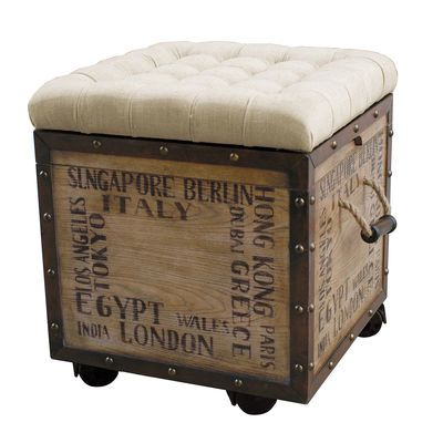 Small And Smart This Rustic Crate Style Ottoman Offers Extra Seating With Its Cushy Tufted Natural Colored S Upholstered Ottoman Storage Ottoman Crate Storage