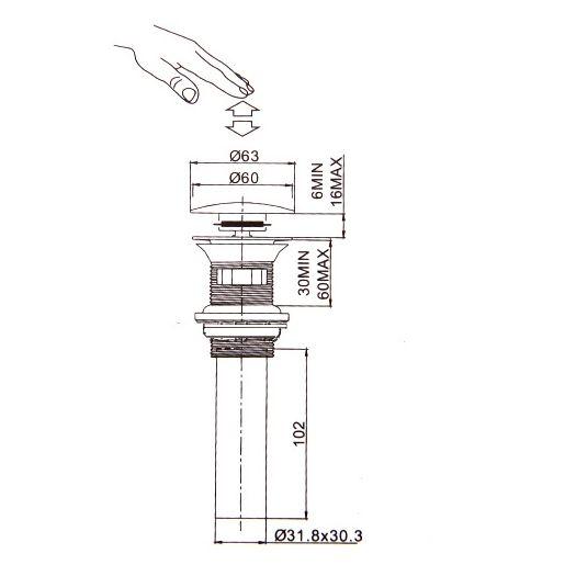Ti-PVD Pop-up Water Drain 1018-LK-0921