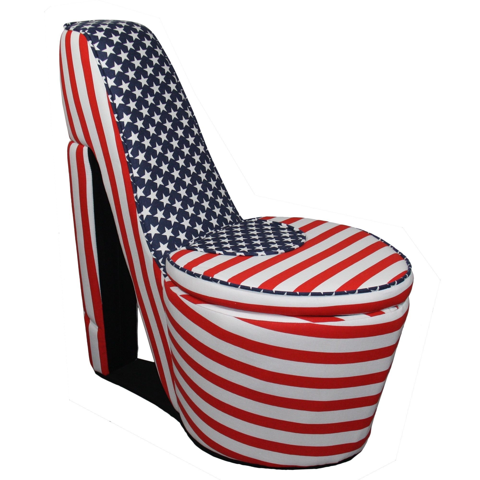ORE International American Flag High Heels Storage Chair Red Heel