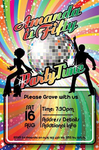 70 s disco birthday party digital printable invitation template