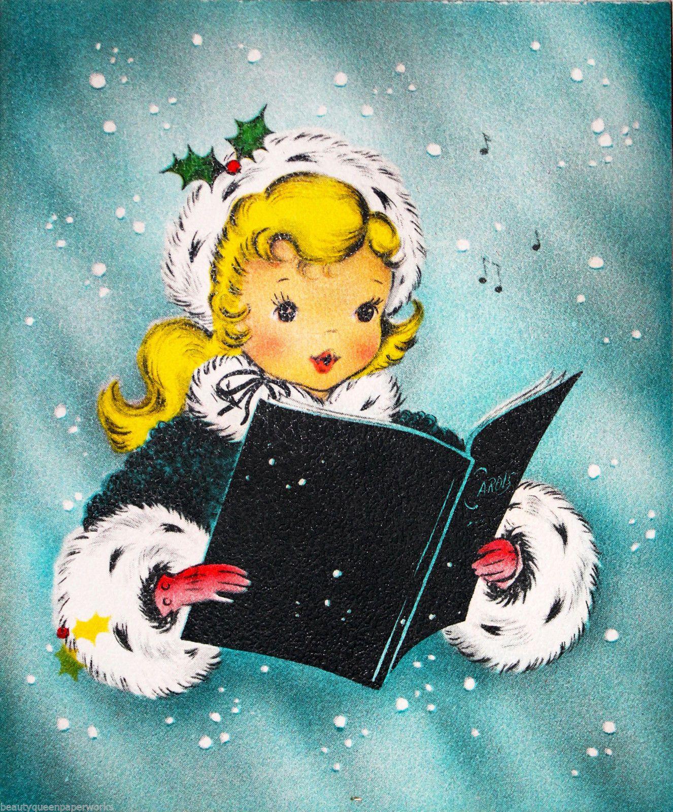 Weihnachtsbilder Pinterest.Sweet Blonde Girl Singing Christmas Carol Song Book 40 S Vintage