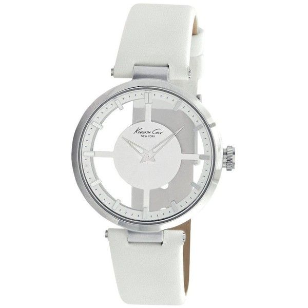 "Kenneth Cole New York Women's KC2609 ""Transparency"" Stainless Steel... ($79) ❤ liked on Polyvore featuring jewelry, watches, dial watches, white leather strap watches, kenneth cole wrist watch, white leather band watches and leather strap watches"