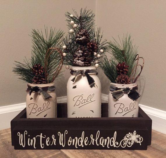 Mason Jar Centerpiece Winter Wonderland Evergreen Pine Christmas Jars Christmas Centerpieces Christmas Mason Jars