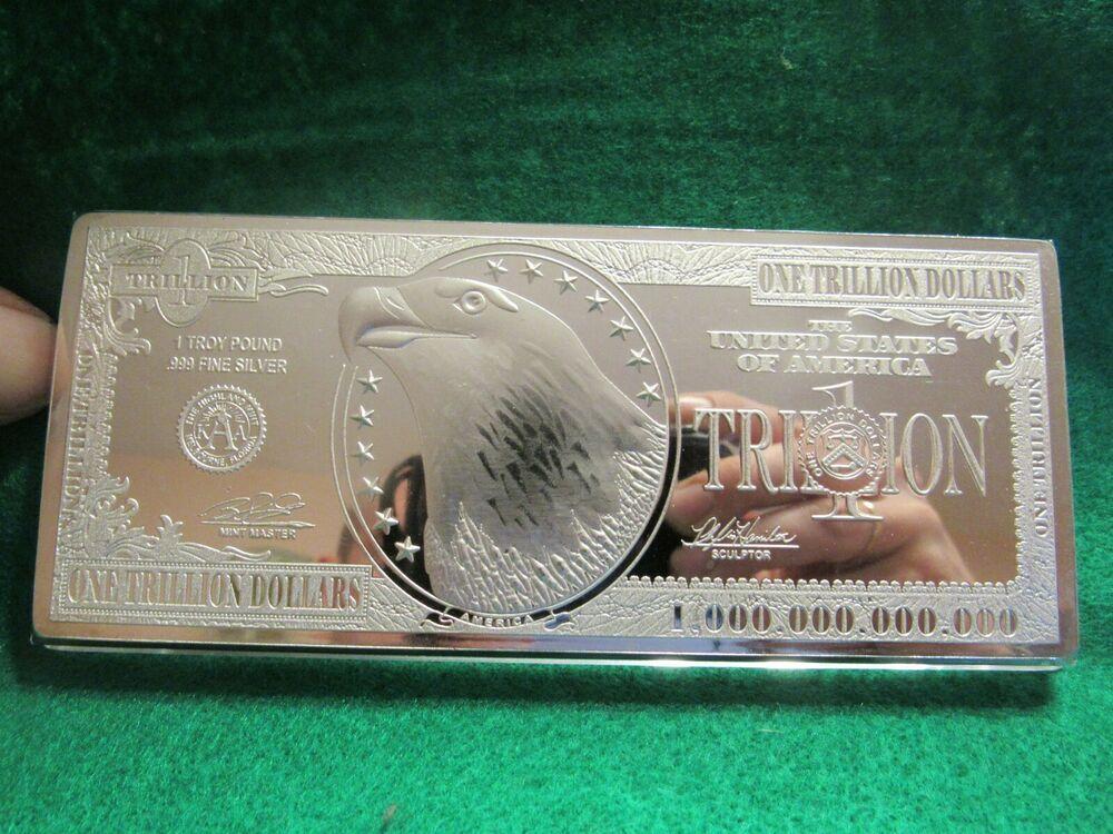 Scarce 12 Troy Oz 999 Fine Silver 1 Trillion Dollars Banknote Bar Dollar Banknote Fine Silver Silver