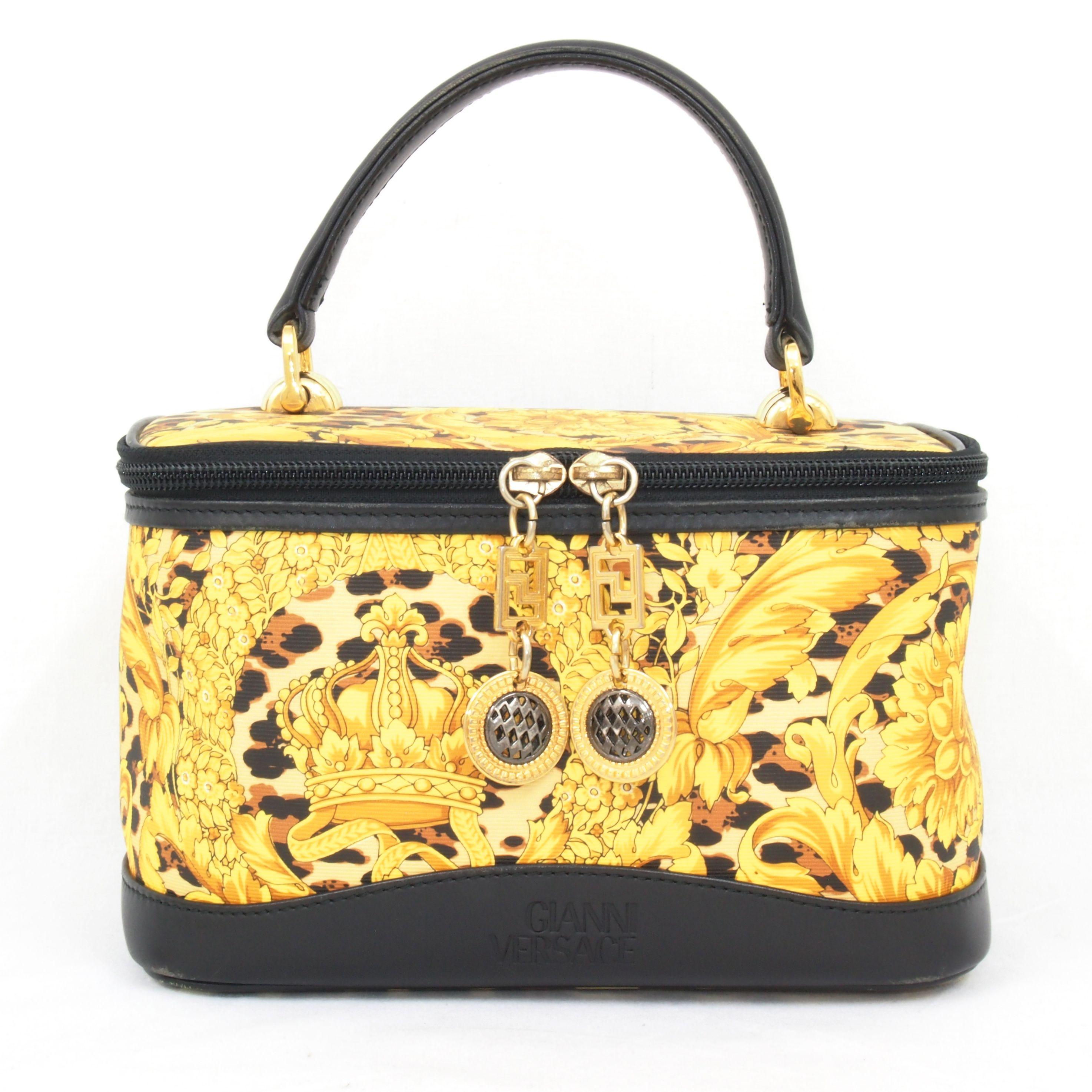78dd6f40 Vintage Gianni Versace Vanity Bag leopard Medusa Handbag Evening ...
