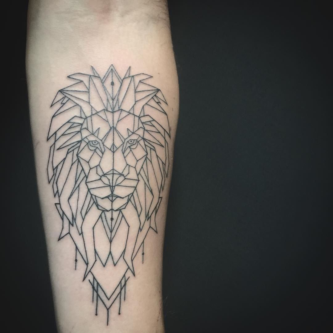 Geometric Lion Tattoo On A Forearm Just Linework Geometric Lion Tattoo Lion Tattoo Geometric Lion