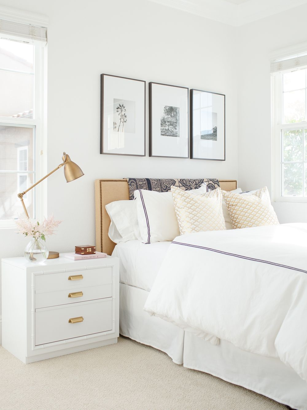 simple white bedroom upholstered headboard bedroom art