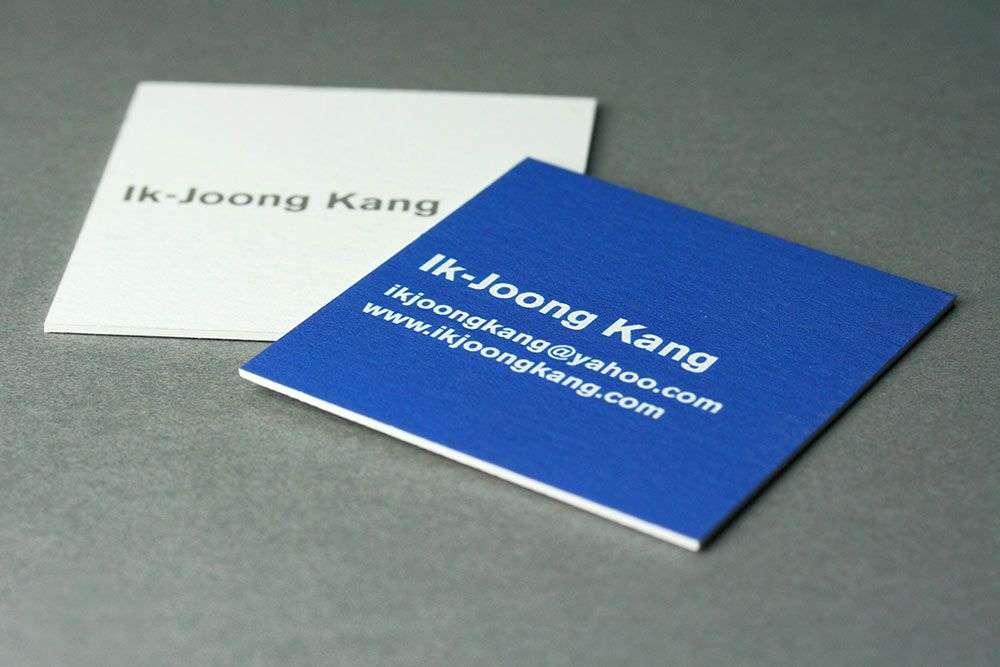 Square business card printed for artist Ik Joong Kang printed on ...