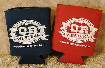 FORT WESTERN horse tack shop CAN COOLERs, Lot of 2, Red & Green