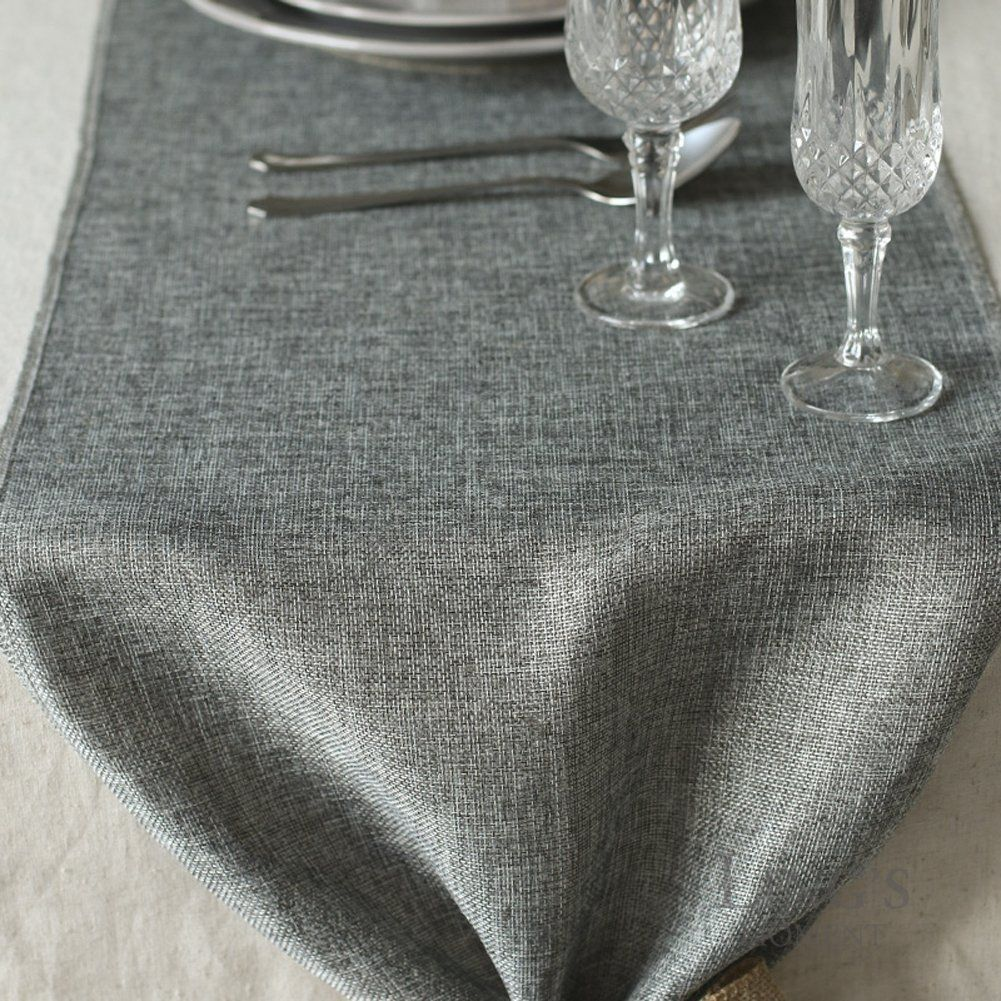 Lings Moment Gray Burlap Table Runner Imitated Linen Wrinklefree 14 X 144 Inch For Wedding Party