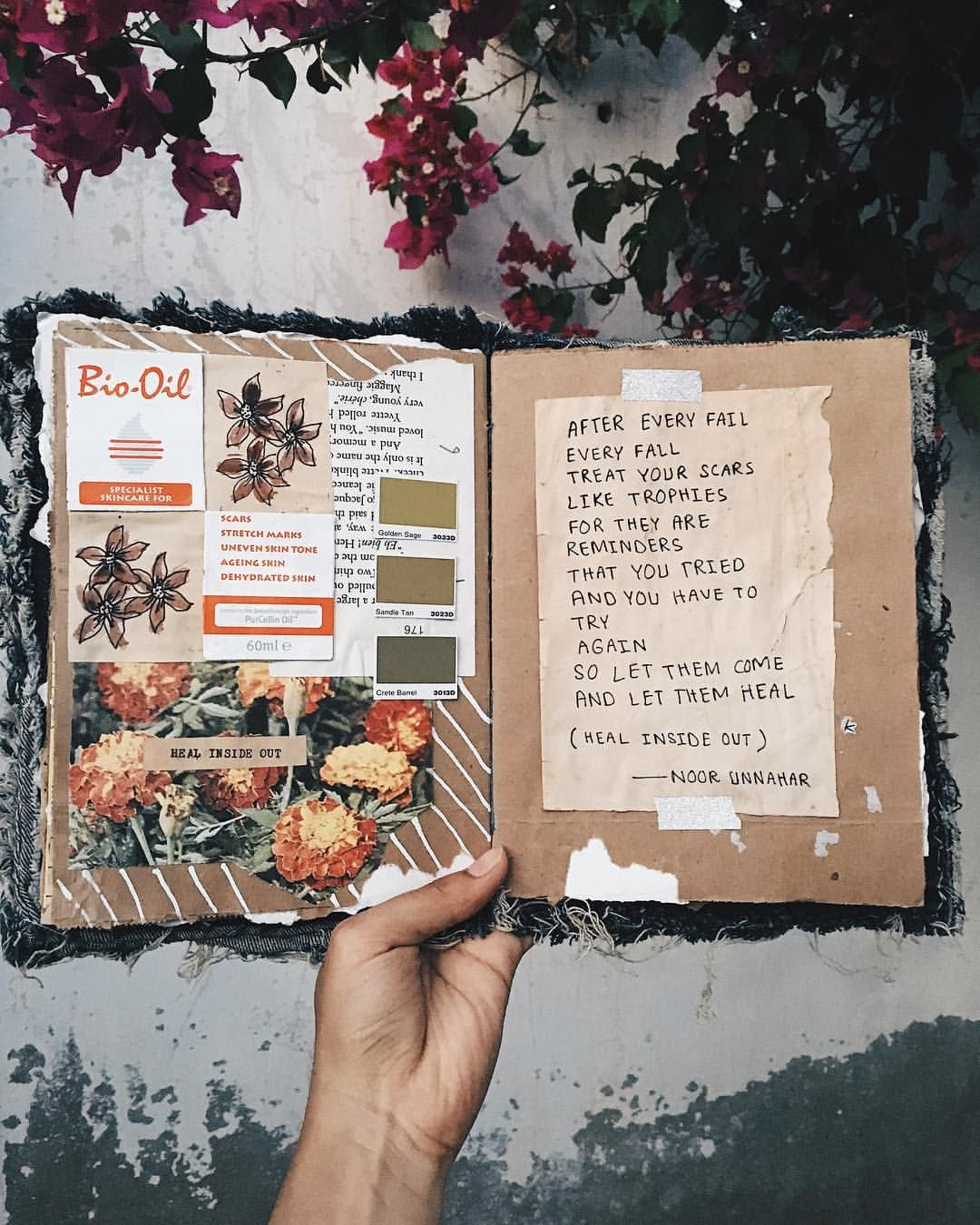 Heal inside out art journal poetry by noor unnahar for Tumblr photo ideas