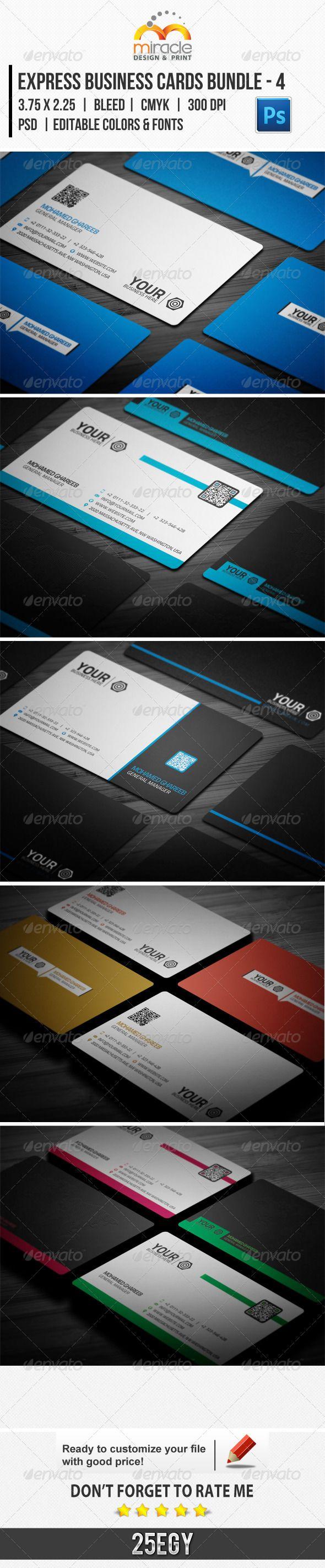 Express Business Cards Bundle - 4 | Business cards, Card templates ...