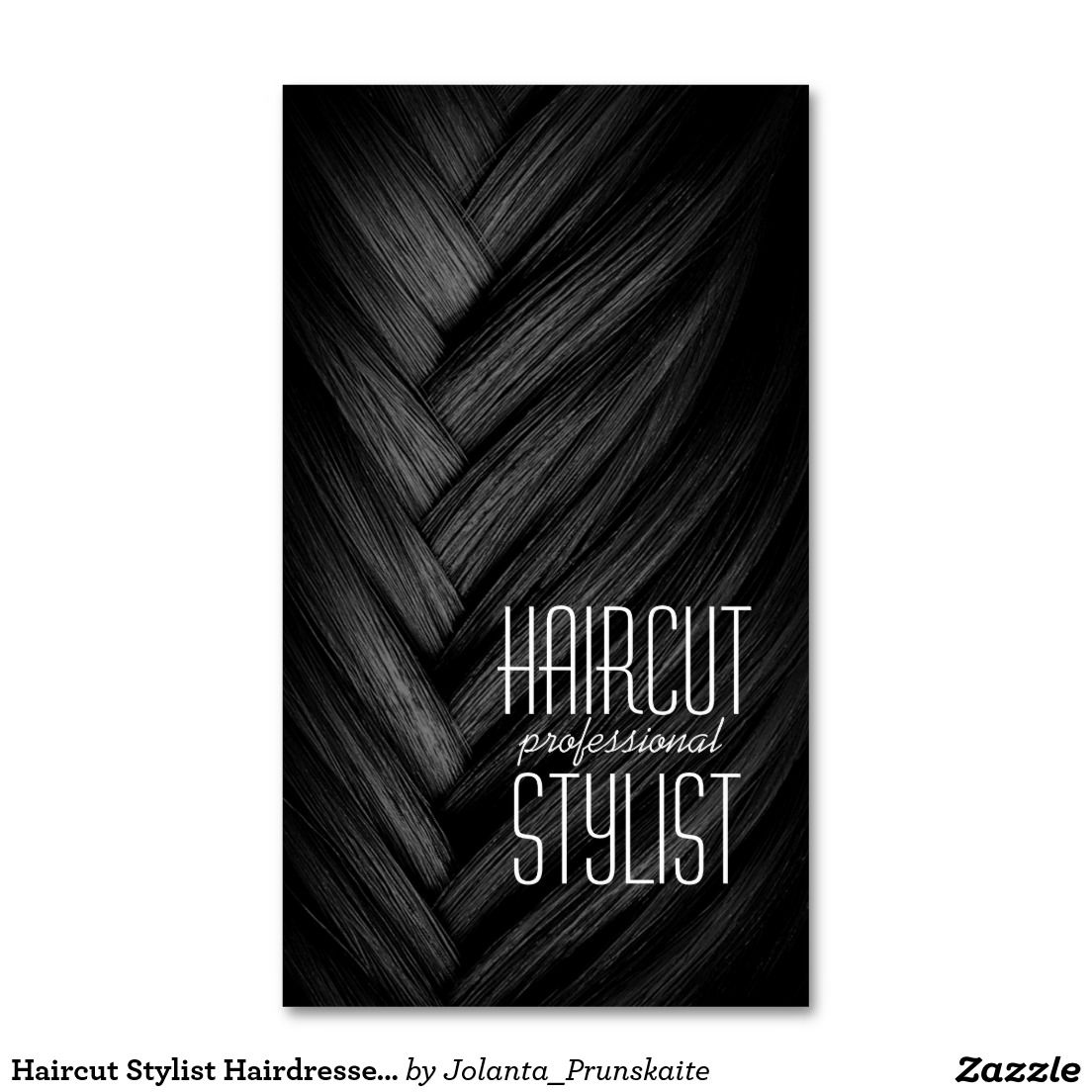 Haircut Stylist Hairdresser Black Business Card Haircut