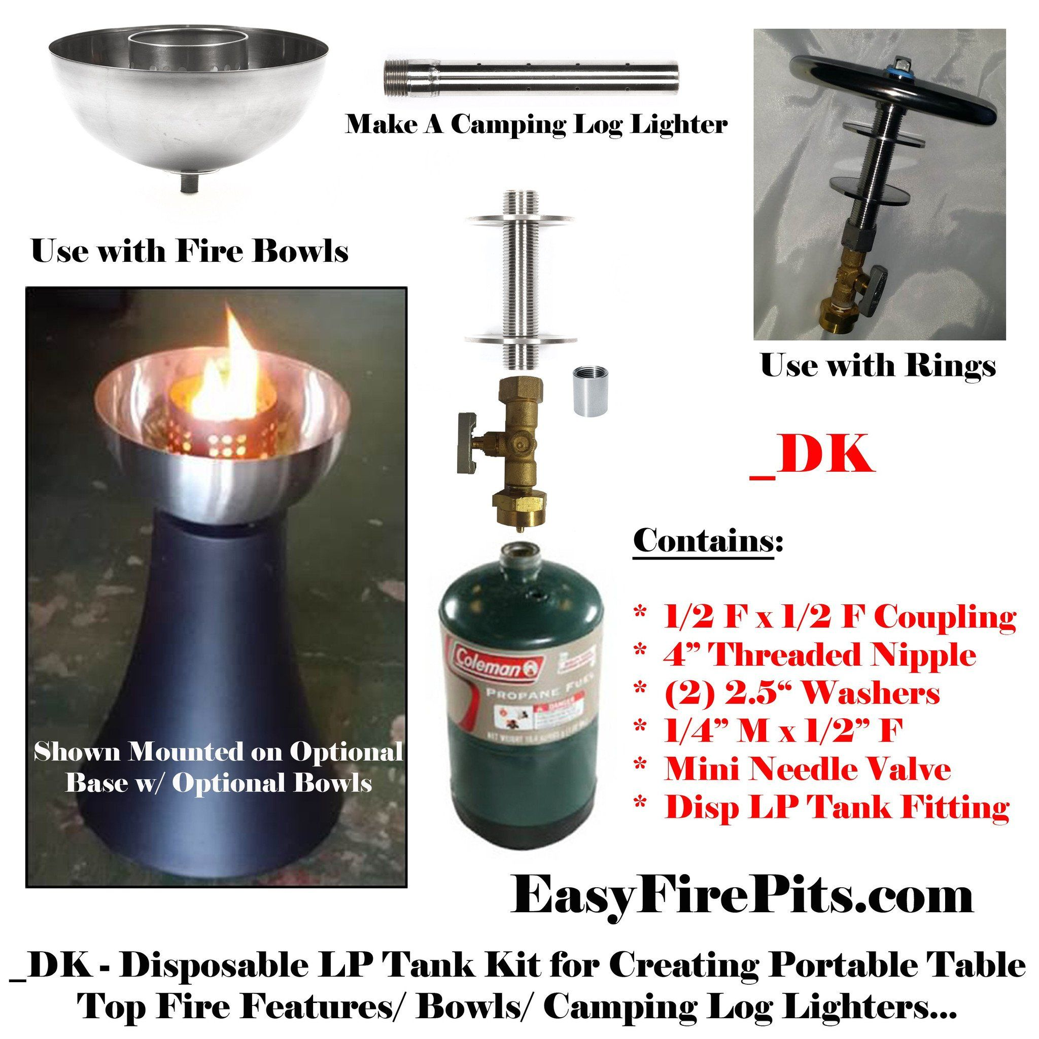 dk universal adjustable disposable lp propane tank kit for diy fire