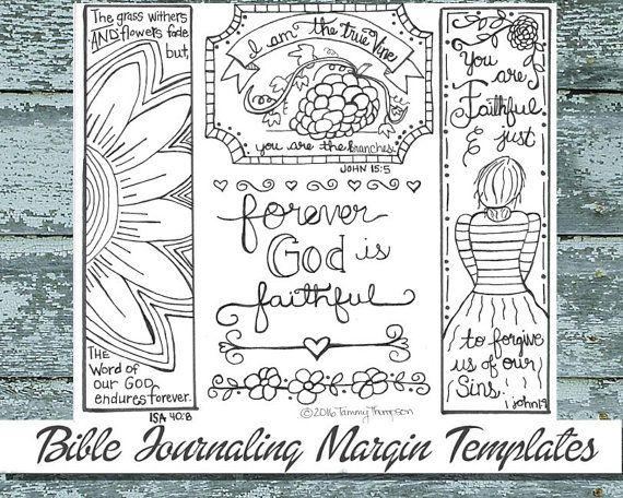 I Am The True Vine #12 - bible journaling, black and white