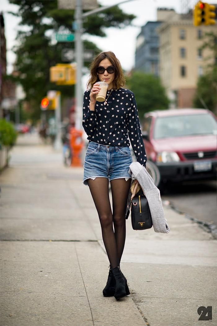 de638bf71 Summer Outfit Idea: High waisted cut off denim shorts, sheer tights, and a  chic printed button down shirt