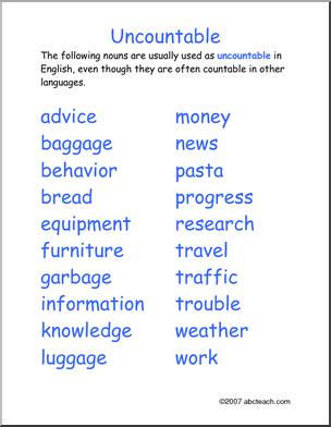 Abcteach Search Learn English Teaching English Grammar Nouns