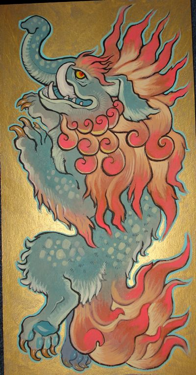 Baku Traditional Number Two By Missmonster On Deviantart Japanese Mythical Creatures Creature Art Japanese Woodcut