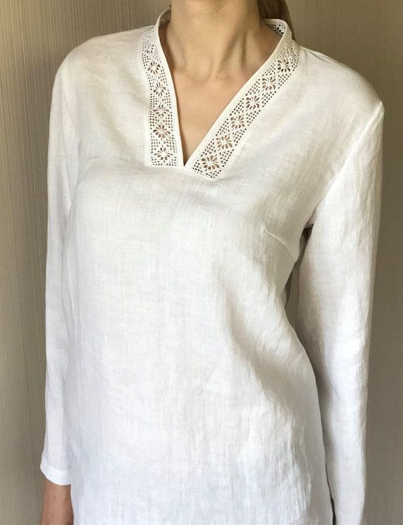 e6af5537dcc White Simple Linen Tunic Women / Oversized Summer Top / Loose Fit Tunic / Plus  Size Tunic / Minimal