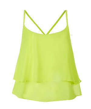Neon Yellow Double Layer Cami