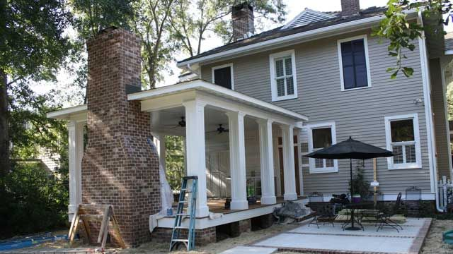 building a back porch addition on a historic home antler phase porch fireplace porch. Black Bedroom Furniture Sets. Home Design Ideas
