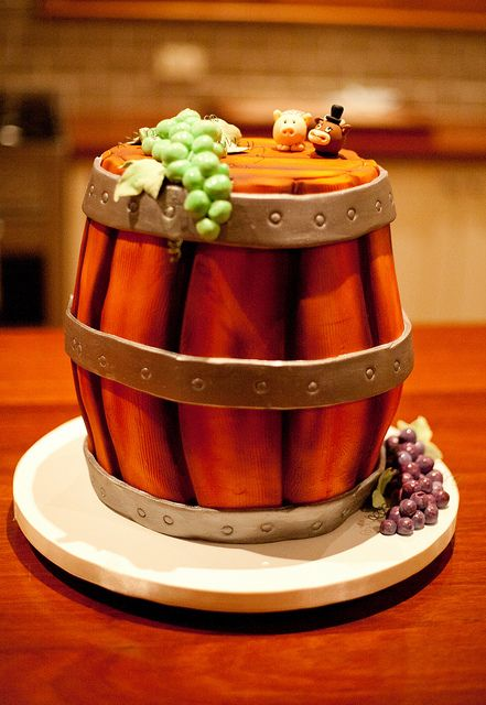 Wine Barrel Wedding Cake from a Vineyard Wedding.  Cake by Renaissance Cakes and Photo by Alison George