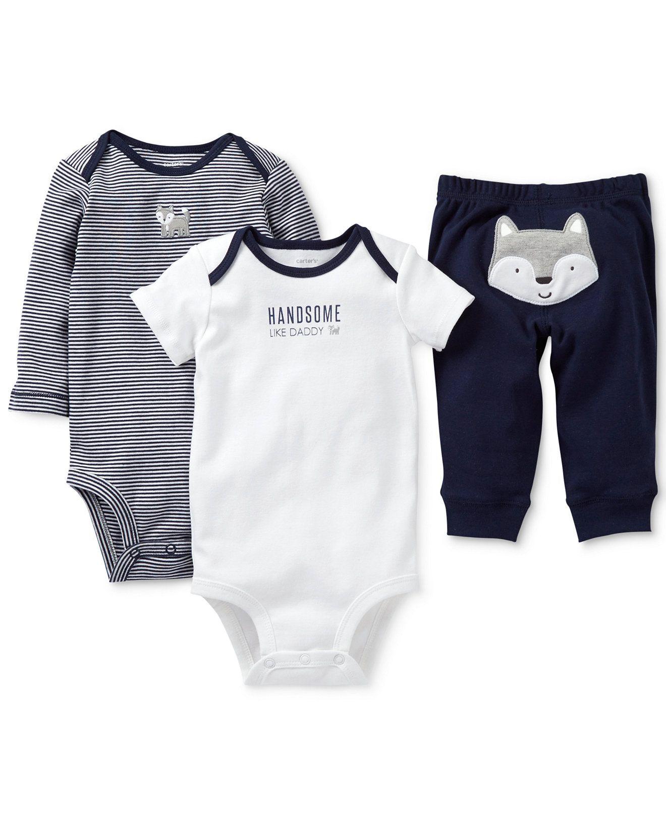 d664cfe83 Carter's Baby Boys' 3-Piece Wolf Bodysuits & Pants Set - Kids Baby Boy  (0-24 months) - Macy's