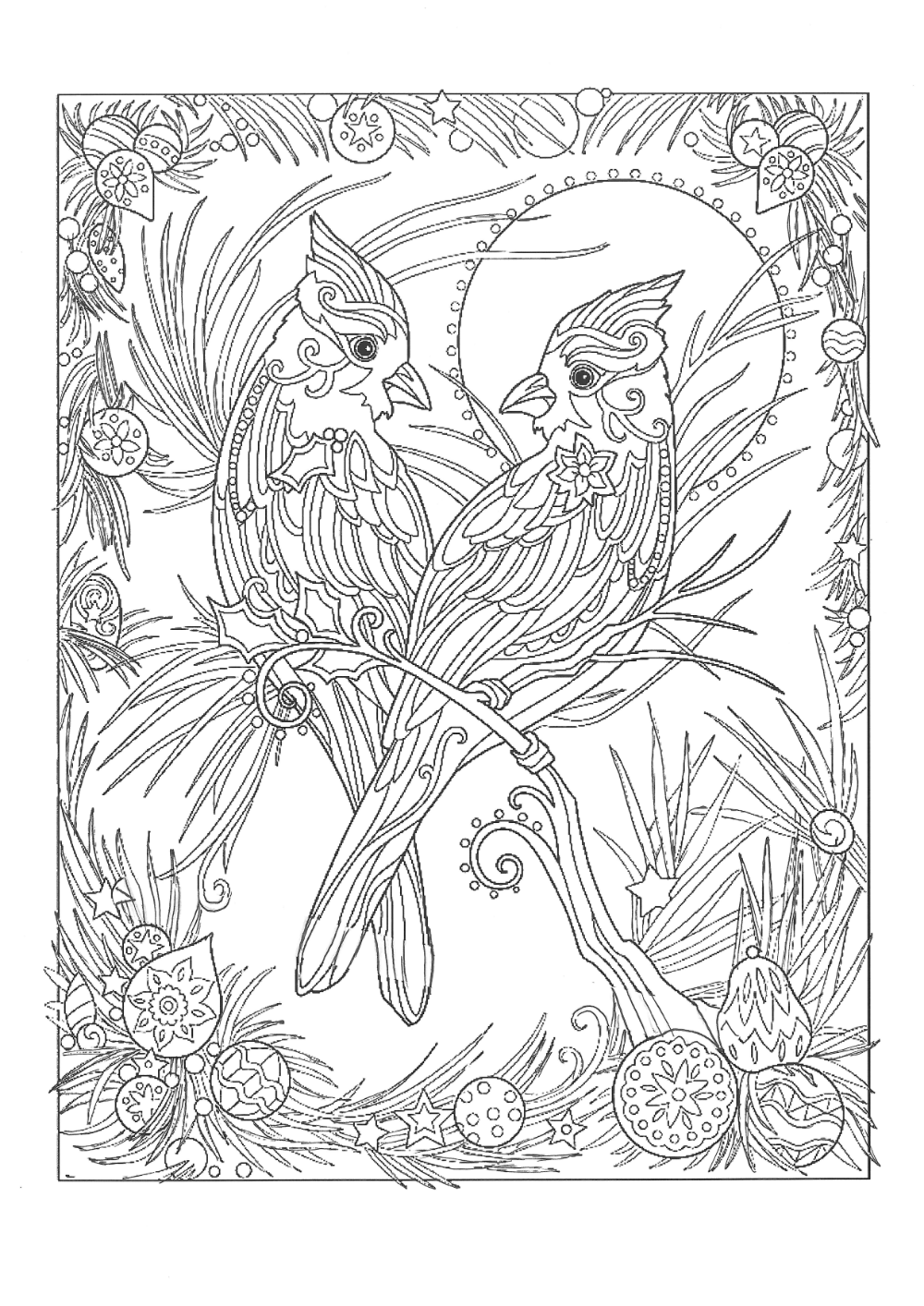 Christmas Cardinals Line Art Cute Coloring Pages Bird Coloring Pages Horse Coloring Pages