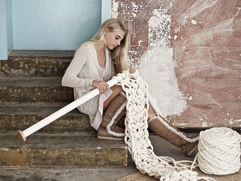 tricoter une echarpe geante