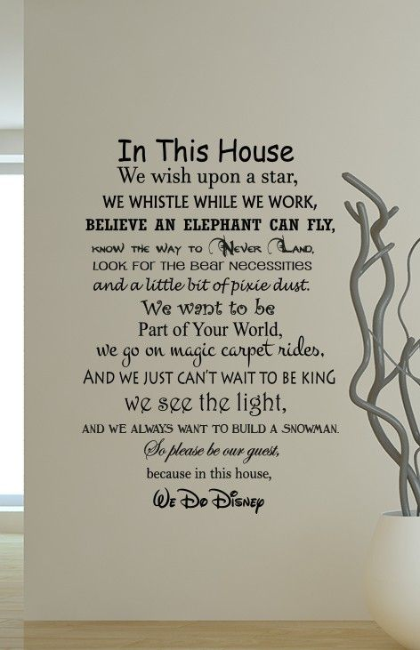Give your home a unique feature wall with we do disney wall decal sticker featuring saying