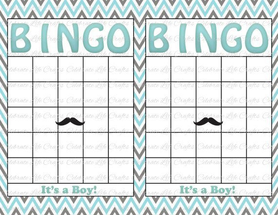 Blank Baby Shower Bingo Cards - Mustache Theme - Printable Party Boy