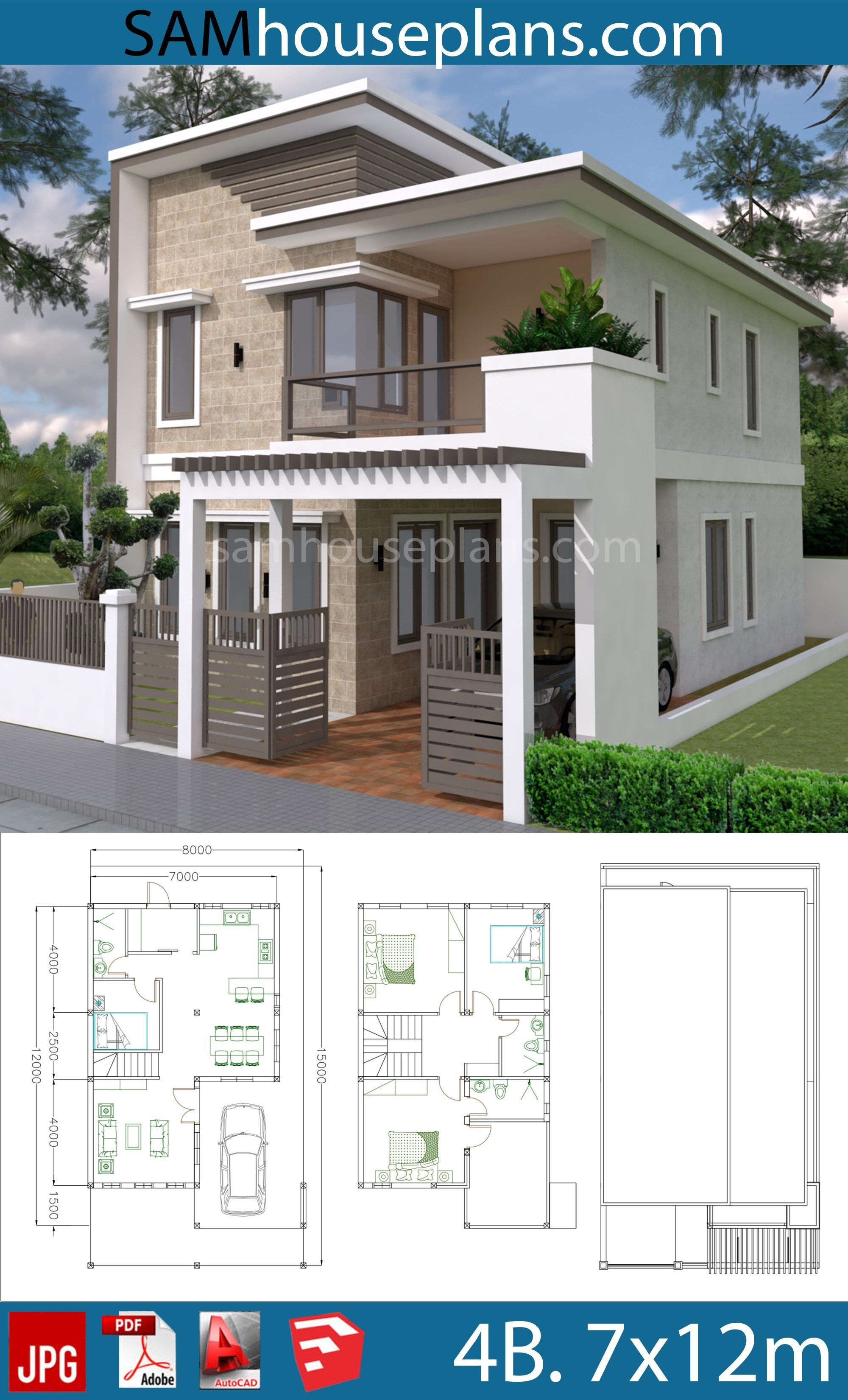 House Plans 7x12m With 4 Bedrooms Plot 8x15 Sam House Plans Bungalow House Design Minimalist House Design House Layouts