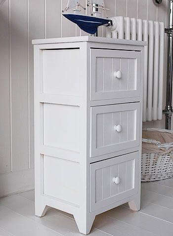 Side View Of White Bathroom Drawers Bathroom Floor Cabinets