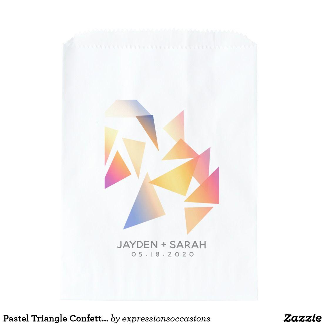 Pastel Triangle Confetti On White Wedding Favor Bag Zazzle