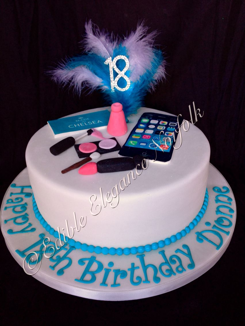 An 18th Birthday Cake For A Girl That Likes Phones Make Up And