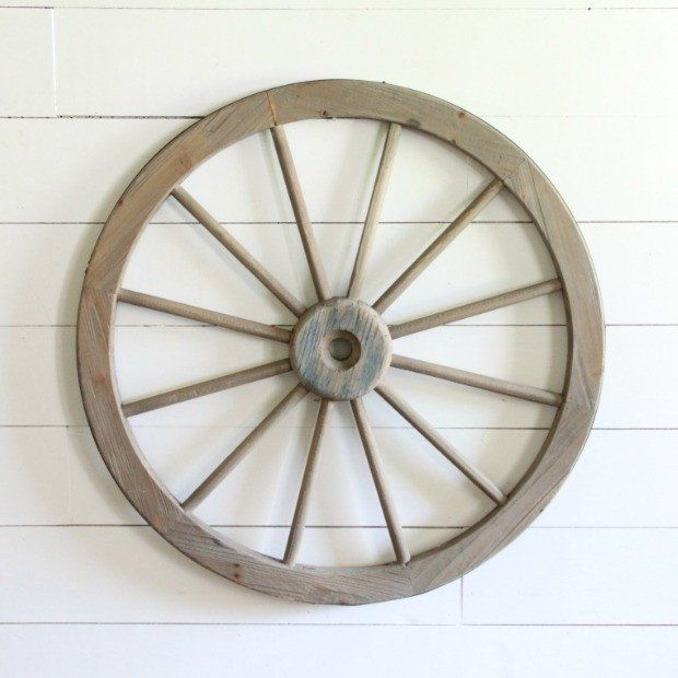 Large Wooden Wagon Wheel Wall Decor