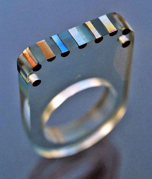 GUNILLA TREEN born 1949 Ring Acrylic Titanium / British, c.1970 Provenance: The Artist